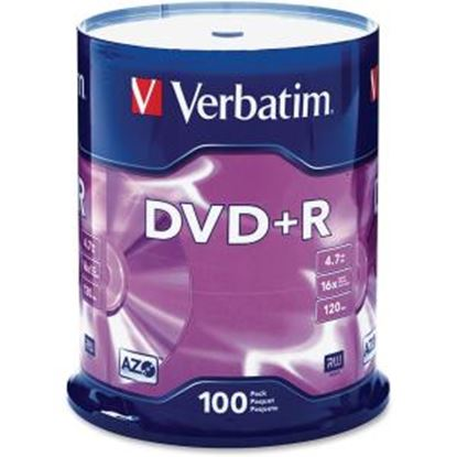 Picture of Verbatim AZO DVD+R 4.7GB 16X with Branded Surface - 100pk Spindle