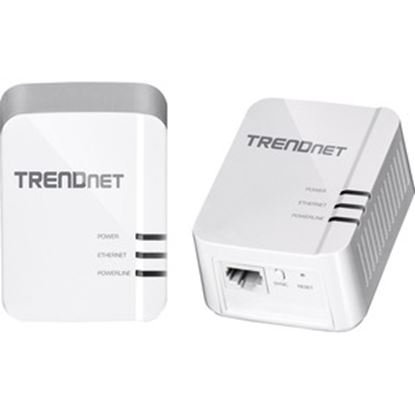 Picture of TRENDnet Powerline 1300 AV2 Adapter Kit; TPL-422E2K; Includes 2 x TPL-422E Powerline Ethernet Adapters; IEEE 1905.1 & IEEE 1901; Gigabit Port; Range Up to 300m (984 ft.); Simple Plug-in Installation