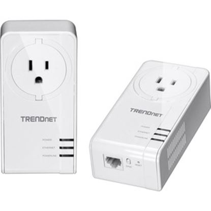Picture of TRENDnet Powerline 1300 AV2 Adapter with Built-in Outlet Adapter Kit; Includes 2 x TPL-423E Adapters; IEEE 1905.1 & IEEE 1901; Gigabit Port; Range Up to 300m (984 ft.); TPL-423E2K