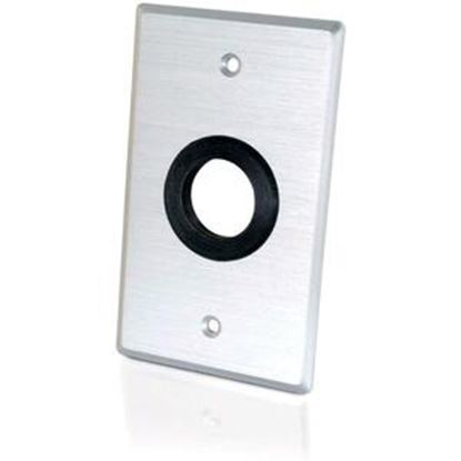 Picture of C2G 1in Grommet Cable Pass Through Single Gang Wall Plate - Brushed Aluminum
