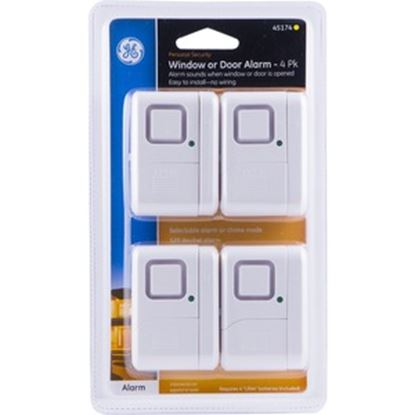 Picture of GE Personal Security Window or Door Alarm, White, 4 Pack